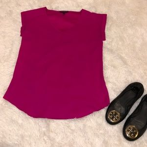 Express Magenta Silky Blouse with Cuffed Sleeves